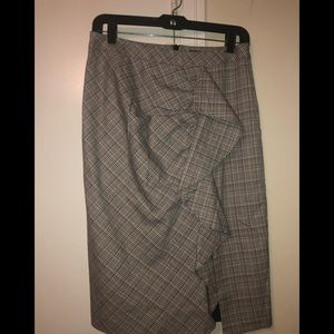 Nanette Lepore playful plaid ruffle pencil skirt 4